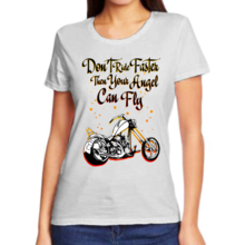 Футболка женская серая don't ride faster then your angel can fry арт 5575
