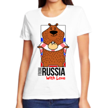 Футболка женская from Russia with love медведь с хлебом